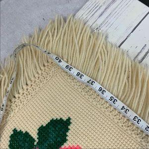 Bedding - Vintage vibrant floral needle point handmade throw